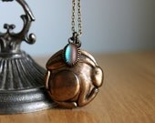 Rabbit Saphiret Necklace - Old Vintage Unique Puffy Brass Big Bunny Pendant - Unusual Large Hollow Charm