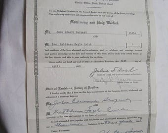 Antique Paper of Matrimony and Holy Wedlock 1938 Marriage License Romantic Wedded Bliss Treasured Certificate of the Sargent's Special Day