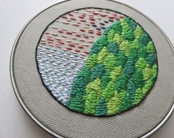 Original Embroidery Art Nature Wall Art Nature Hoop Art Small Wall Art Original Hand Embroidery PNW Art