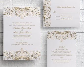 Blush Pink and Gold Wedding Invitation, Foil Stamped Wedding Invitation, Vintage Gold, Printed Gold, Invitation Suite