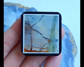 Picasso Jasper,Obsidian ,White Jade Intarsia Pendant Bead,36x33x6mm,17.6g(b0564)