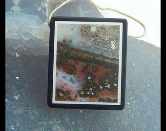 Ocean Jasper,Obsidian Intarsia Pendant Bead,29x24x5mm,8.9g
