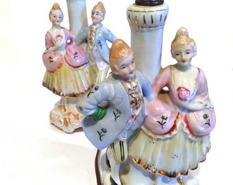 Rococo Capodimonte Porcelain Lamps, Girls Room Lamps, Cottage Lamps, Shabby Chic Lamps