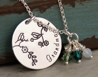 Grandma / Momma bird necklace with birthstones / Hand Stamped Necklace / Sterling Silver Personalized Custom Jewelry