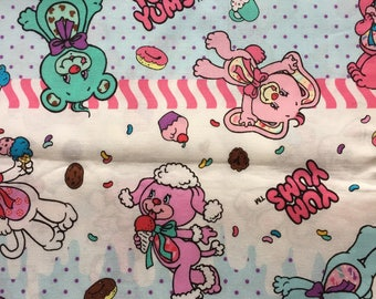 Yum Yums fabric white and blue color Japanese fabric half yard