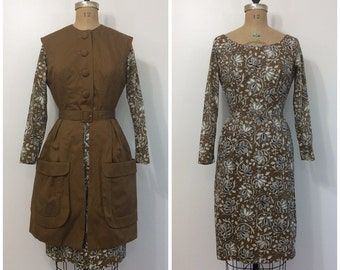 1950s Paisley Dress and Vest Set 50s