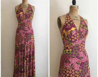 Vintage 1960s 1970s Novelty Print Op Art Halter Dress 60s 70s Koi Crane Maxi Dress