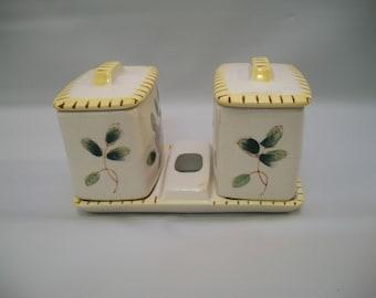 Vintage Relish Set, Ceramic Relish/Condiment Set, Condiment Holder, vintage Condiment Dishes with Tray, Vintage Kitchenware,