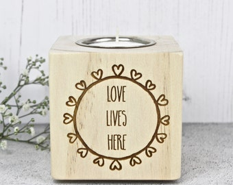 Love Lives Here Wooden Candle Holder
