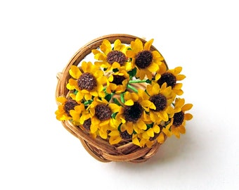 Miniature half scale sunflowers in a flower basket, 24th, HALF scale for the collector's dolls' house