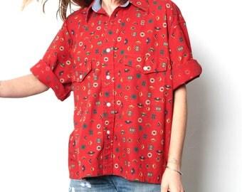 pendleton cotton SOUTHWEST 90s bright SLOUCHY ikat style TRIBAL pattern womens shirt
