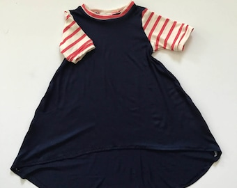 Navy + Coral Stella Dress