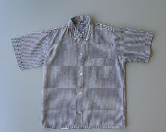 Vintage 1960s Blouse. 60s Blouse. 1960s Button Down Blouse. 60s Button Down Blouse. Gingham Top. 60s Gingham Check. Small