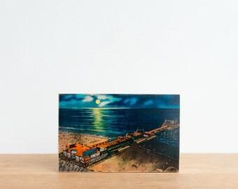 Americana Vintage Postcard Art Block 'Moonlight View' - Atlantic City, beach pier, night beach, vintage beach, image transfer on wood block