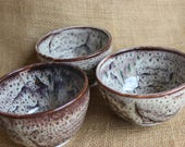 Small dessert or fruit bowls, ceramic ramekins, wheel thrown, stoneware, ready to ship