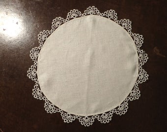 "1920's Natural Linen Round Doily with Tatting Edge - 19"" Diameter Doily , Arts and Craft Era Linen"