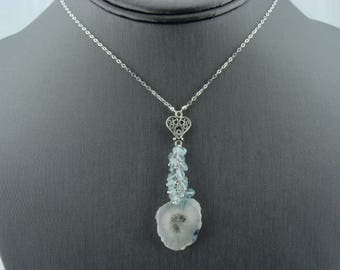 Solar Quartz Aquamarine 925 Sterling Silver Filigree Heart Necklace