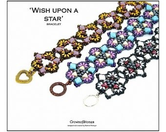 Bead pattern DIY Wish upon a star bracelet made with seed beads, delica, Miniduos, Silky beads, Quad beads, Kheops par