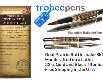Rattlesnake Pen Handmade ballpoint pen  executive pen  gift for writer Gold and black titanium metal signed authenticity card