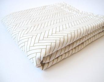 Herringbone Baby Blanket - Ivory and Gold Stroller Blanket - Ivory Minky Dot - 26 x 30