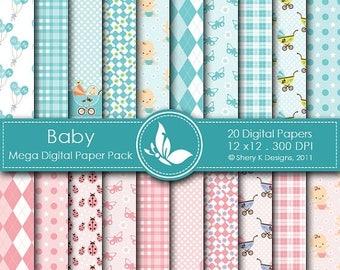 40% off Baby Mega Paper Pack - 20 Printable Digital paper - 12 x12 - 300 DPI
