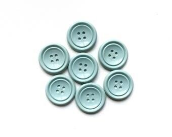 7 Sky Blue Vintage Plastic Buttons, 20mm