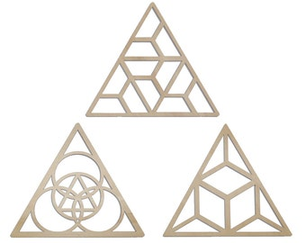 3 Triangles Wall Art - Raw Wood Home Decor