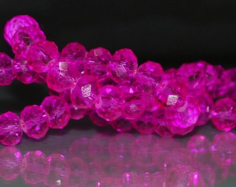 18 pcs 8x6mm Transparent Hot Pink Fuchsia Rondelle Glass Beads THP-3