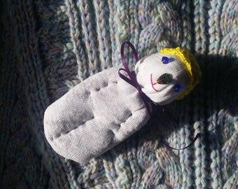 Lavender Filled Sachet Sock Doll OOAK White w\Yellow Hat Blue Eyes Brown Heart Nose English Lavender Lavandula 'Provence'