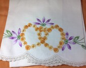 Vintage pillow cases/ twin pillow cases / hand embroidered  / yellow purple /daisy marigold