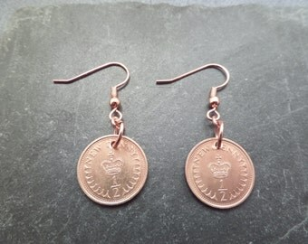 British Crown Copper Coin Earrings UK Coins, Half Pence 1979 Birthday Gift