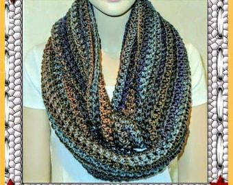 Oversized Crochet Scarf, Wool Scarf, Crochet Infinity Scarf, Oversized Crochet Infinity Scarf Gray Crochet Scarf, Brown Scarf, Blue Scarf