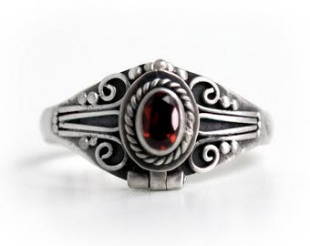 Red Garnet Poison Ring, Locket Ring, Sterling Silver Chamber Ring, Red Birthstone Ring Secret Compartment Ring, SIZE 6.25,  (P2)