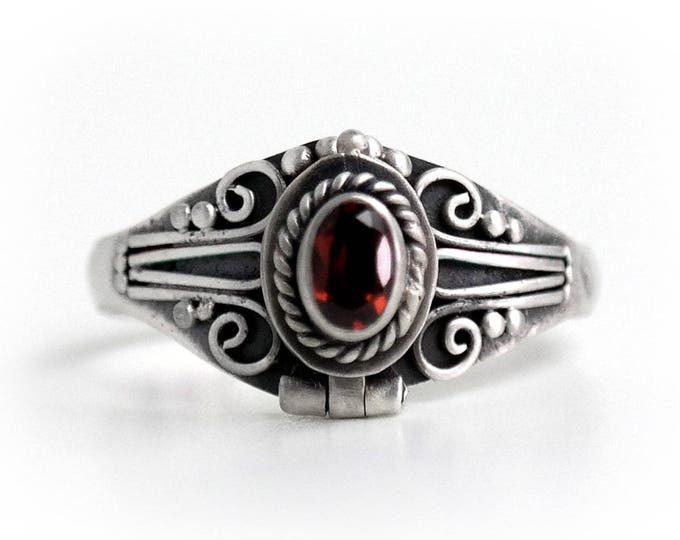 Red Garnet Poison Ring, Locket Ring, Sterling Silver Chamber Ring, Red Birthstone Ring Secret Compartment Ring, SIZE 6.25, 8 (P2)