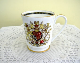 1969 Vintage Prince of Wales Investiture Prince Charles Aynsley China Mug Commemorative Kings and Queens of England
