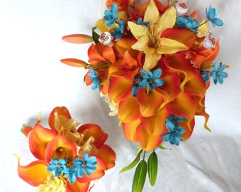 Reserved Orange Calla lily and lily boutonnieres and corsages