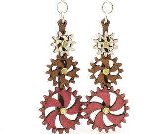 Kinetic Gear Earrings 5009C - Laser Cut from Reforested Wood