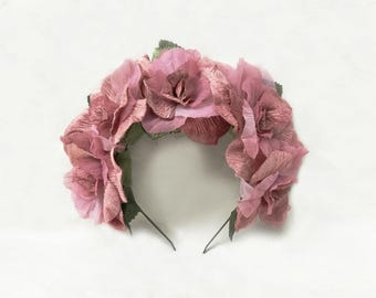 Dusty Pink Velvet Rose Headband, Pink Frida Kahlo Flower Crown, Pink Rose Crown, Mexican Wedding, Blush Pink Floral Crown, Dusty Pink, Crown