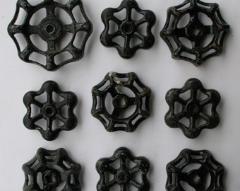 Vintage Valve Handles-Garden Faucet Knobs-Shipping Special-9 Black Funky Super Patina  Vintage Water Faucet Handles -Potting Shed Project