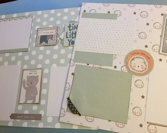 Little boy scrapbook pages   Baby boy scrapbook pages   12 by 12   premade album