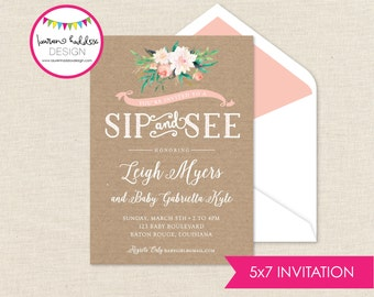Sip and See Baby Invitation, Sip and See Baby Shower, Sip and See Watercolor Invitation, Watercolor Invitation, Lauren Haddox Designs