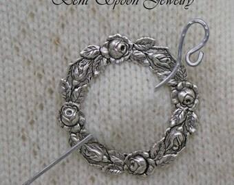 Rose Wreath Shawl Pin, Sweater Pin,   Silver Rose Shawl Pin, Shrug Closure