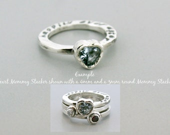 Stackabe Mothers Ring - Custom Gemstone Ring - Stackable Ring - Stackable Birthstone Ring - Stacking Mothers Ring - 6mm Heart