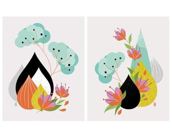 Ikebana Study I & II - Fine Art Print Set - TWO 8x10 Prints