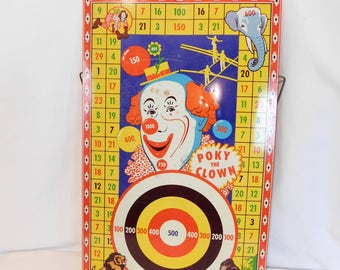 Vintage Poky The Clown Tin Dart Board, Wyandotte Toys, Magnetic Dart Board, Circus Toy, Bullseye