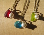 Custom for J: 3 Bridesmaid Jewelry Teal Green and Red Wedding Necklaces with Pearl Jewelry Destination Wedding Jewelry