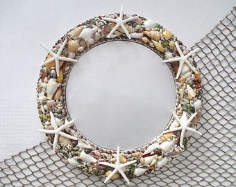 Nautical Round Shell Mirror with Six White Finger Starfish