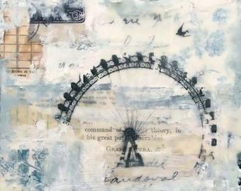 Angela Petsis, Encaustic Collage, Encaustic Mixed Media Painting, Ferris Wheel, Whimsical Art, Encaustic Art
