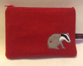 Badger zipper purse, small make up bag, red Harris Tweed, freehand machine embroidered purse, zipped pouch, embroidered badger