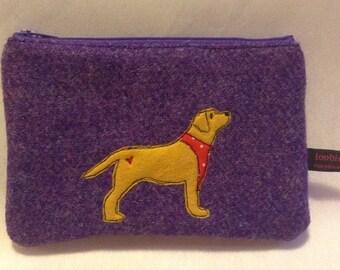 Yellow labrador retriever purse, purple Harris Tweed zipper purse, small make up bag, appliqued labrador embroidered purse, lab lover,